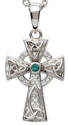 Sterling Silver Celtic Trinity Knot Cross With Swarovski® Crystal & Chain
