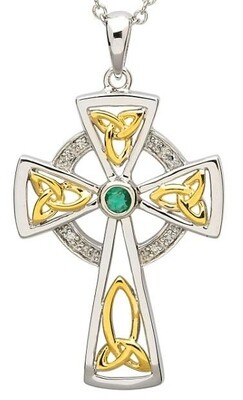 Sterling Silver Celtic Trinity Diamond and Emerald Cross & Chain