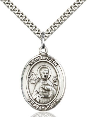 Sterling Silver St. John the Apostle Pendant on a 24