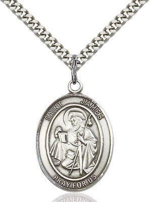 Sterling Silver St. James the Greater Pendant on a 24