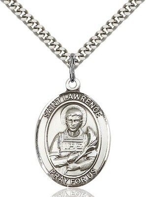 Sterling Silver St. Lawrence Pendant on a 24