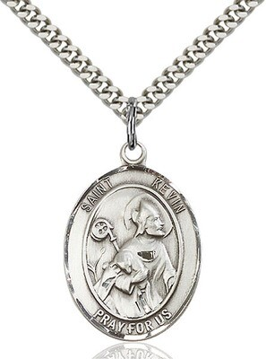 Sterling Silver St. Kevin Pendant on a 24