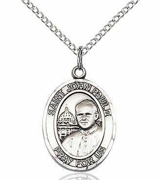 Sterling Silver St. John Paul II Pendant on an 18