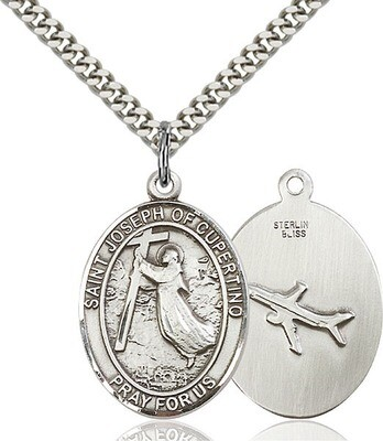 Sterling Silver St. Joseph of Cupertino Pendant on a 24