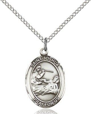 Sterling Silver St. Joshua Pendant on an 18