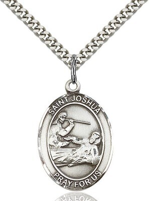 Sterling Silver St. Joshua Pendant on a 24