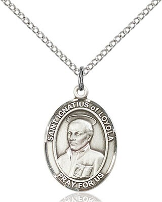 Sterling Silver St. Ignatius of Loyola Pendant on on 18