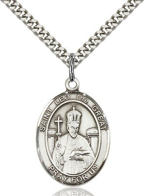 Sterling Silver St. Leo the Great Pendant on a 24