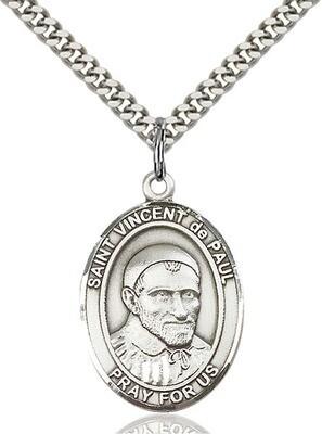"Sterling Silver St. Vincent de Paul Pendant on a 24"" Light Rhodium Heavy Curb Endless Chain"