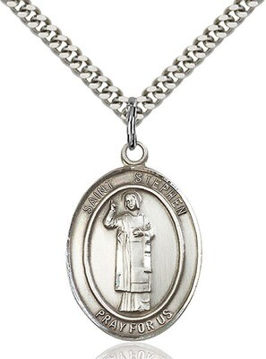 """Sterling Silver St. Stephen the Martyr Pendant on a 24"""" Light Rhodium Heavy Curb Endless Chain"""