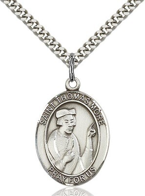"""Sterling Silver St. Thomas More Pendant on a 24"""" Light Rhodium Heavy Curb Endless Chain"""