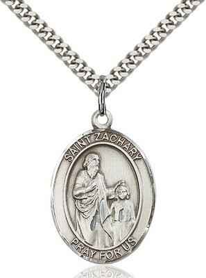 """Sterling Silver St. Zachary Pendant on a 24"""" Light Rhodium Heavy Curb Endless Chain"""