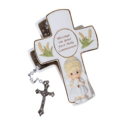 Blessings On Your First Holy Communion, Girl Rosary Box with Clear Rosary