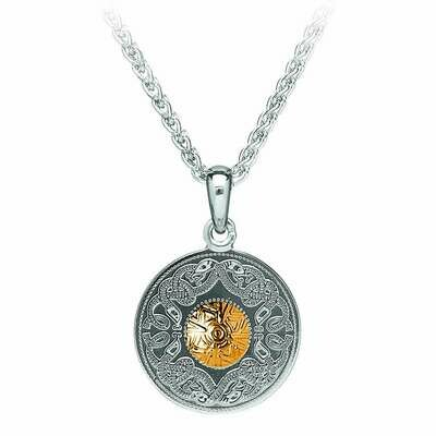 Sterling Silver Celtic Warrior® Shield Pendant with 18K Gold Bead- Small & 18