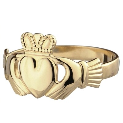 Mens 10kt Gold Claddagh Ring- Our Standard Mens Claddagh Ring
