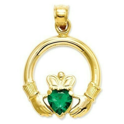 14kt Gold Claddagh with Synthetic Green Stone Charm