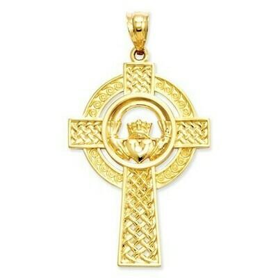 14kt Gold Celtic Claddagh Cross Pendant