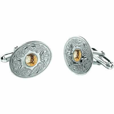 Sterling Silver Celtic Warrior® Shield Cufflinks with 18K Gold Bead- Oval