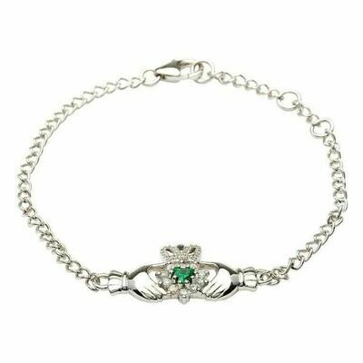 Sterling Silver Claddagh Stone Set Bracelet