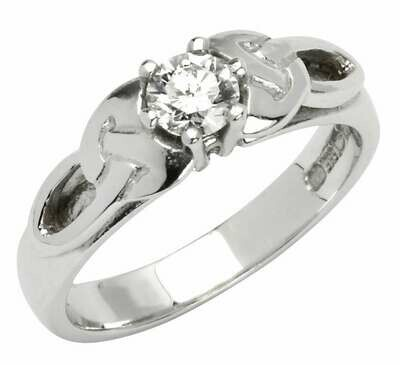 14kt White Gold Trinity Solitaire Ring (1 x .25ct) Brillant Cut Diamond
