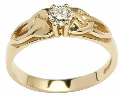14kt Yellow Gold Trinity Solitaire Ring (1 x .25ct.) Brilliant Cut Diamond