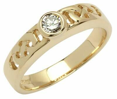 14kt Yellow Gold Celtic Solitaire Ring (1 x. 25 ct.) Brilliant Cut Diamond