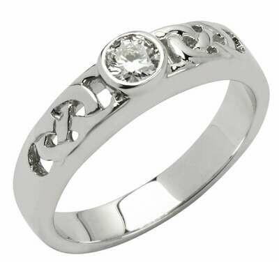 14kt White Gold Celtic Solitaire Ring (1 x .25 ct.) Brilliant Cut Diamond