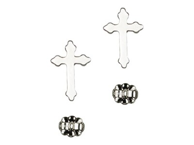 Sterling Silver Cross Stud Earrings