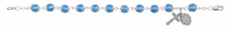 Adult Capped Blue Crystal Rosary Bracelet