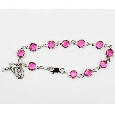 Adult Pink Austrian Crystal Rosary Bracelet