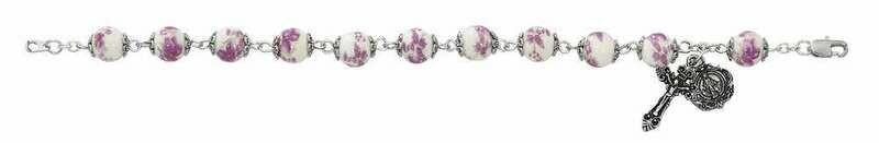 Adult Purple Flower Ceramic Rosary Bracelet
