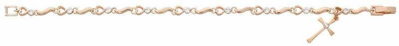Adult Rose Gold Color Heart and Cross Bracelet