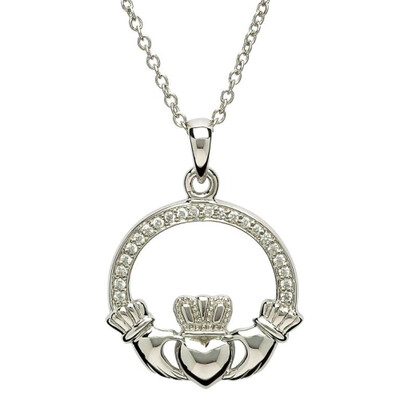 """Sterling Silver Claddagh Stone Set CZ Pendant & 18"""" Sterling Silver Chain"""