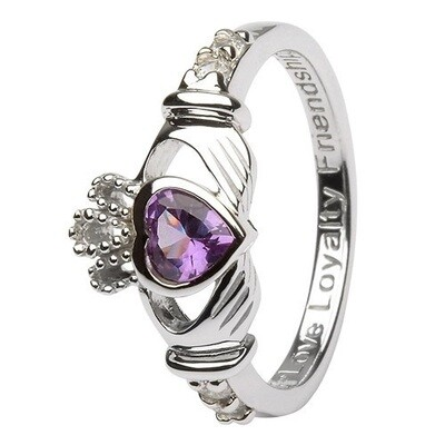 Claddagh June Birthstone Ring
