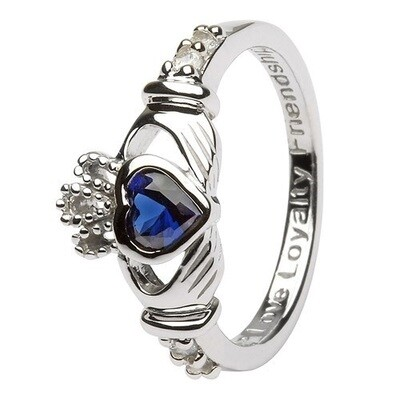 Claddagh September Birthstone Ring