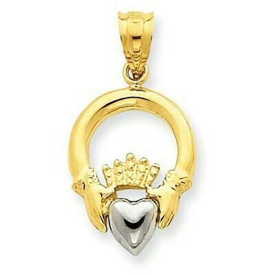 14kt Gold Two-tone Claddagh Charm