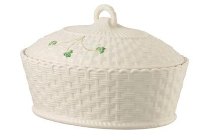Belleek Shamrock Oval Covered Dish
