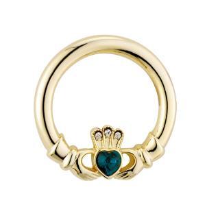 Gold Plated Green Crystal Heart Claddagh Brooch