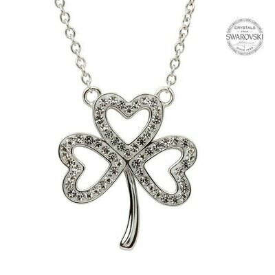 Sterling Silver Open Shamrock Necklace Embellished with Swarovski® Crystals