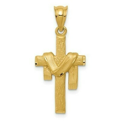 14kt. Gold Satin Draped Cross Pendant
