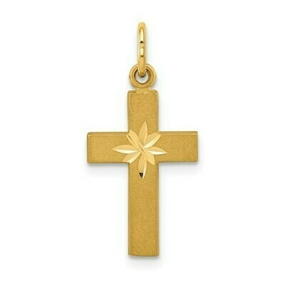 14kt. Gold Small Diamond-Cut Cross Pendant