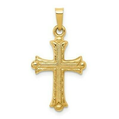 14kt. Gold Hollow Fleur De Lis Cross Pendant