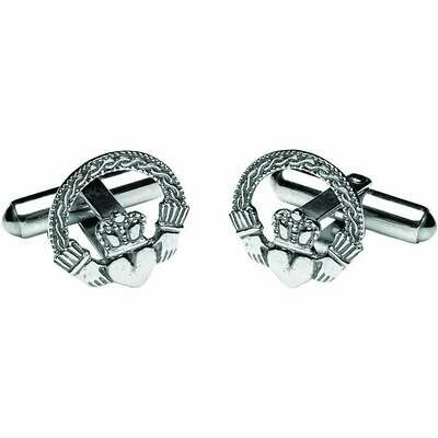 Sterling Silver Engraved Claddagh Cufflinks