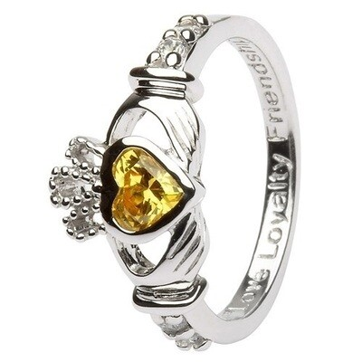 Claddagh November Birthstone Ring