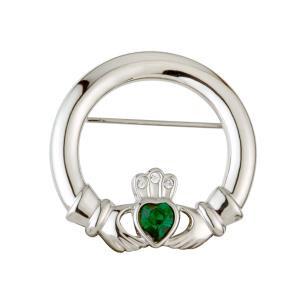 Green Crystal Claddagh Brooch