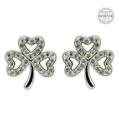 Sterling Silver Shamrock Stud Earrings Adorned with Swarovski Crystals