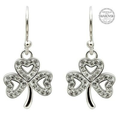 Sterling Silver Shamrock Earrings Adorned with Swarovski® Crystals