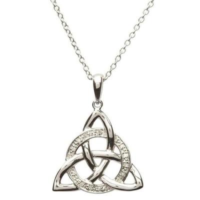 "Sterling Silver Celtic Trinity Knot Diamond Set Pendant & 18"" Sterling Silver Chain"