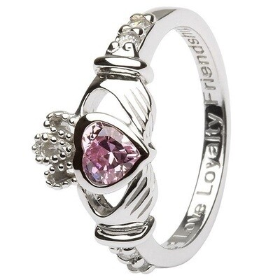 Claddagh October Birthstone Ring