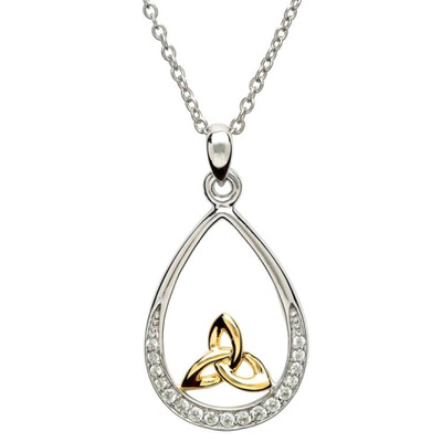 """Sterling Silver Trinity Knot Stone Set Pendant & 18"""" Sterling Silver Chain"""